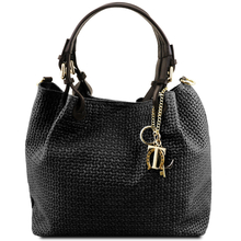 Geanta de umar shopper Tuscany Leather din piele printata neagra Keyluck