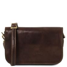 Geanta piele naturala dama Tuscany Leather, maro inchis, Carmen
