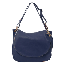 Geanta dama de umar din piele naturala Tuscany Leather, albastru inchis cu ciucure TL Bag