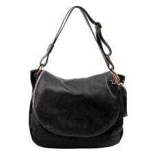 Geanta de umar din piele naturala Tuscany Leather, neagra cu ciucure TL Bag