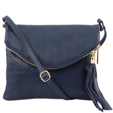 Geanta mica dama Tuscany Leather din  piele albatru inchis cu ciucure TL Young