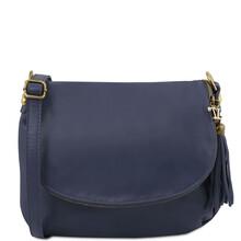 Geanta piele naturala dama Tuscany Leather, albastru inchis cu ciucure TL Bag