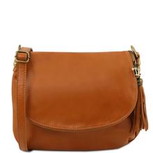 Geanta piele naturala dama Tuscany Leather, coniac cu ciucure TL Bag