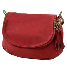 Geanta piele naturala dama Tuscany Leather, rosie cu ciucure TL Bag