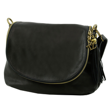 Geanta piele naturala dama Tuscany Leather, neagra cu ciucure TL Bag