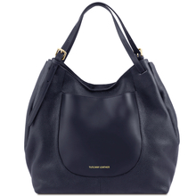Geanta shopper Tuscany Leather din piele naturala albastru inchis Cinzia