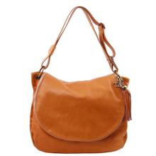 Geanta de umar dama din piele naturala Tuscany Leather, coniac cu ciucure TL Bag