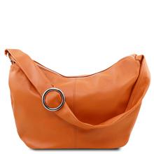 Geanta hobo din piele naturala coniac Tuscany Leather, Yvette