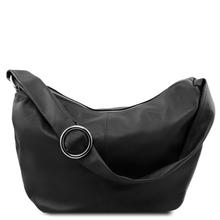 Geanta hobo din piele neagra Tuscany Leather, Yvette
