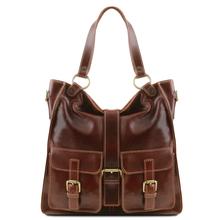 Geanta piele naturala dama Tuscany Leather, maro, Melissa