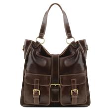 Geanta piele naturala dama Tuscany Leather, maro inchis, Melissa