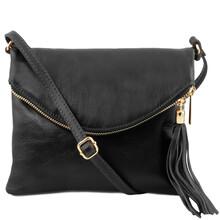Geanta mica dama Tuscany Leather din  piele neagra cu ciucure TL Young