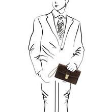 Borseta barbati din piele naturala Tuscany Leather, maro inchis, Arthur