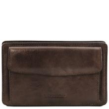 Borseta barbati din piele naturala Tuscany Leather, maro inchis, Denis