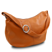 Geanta hobo din piele naturala coniac Tuscany Leather, Yvette