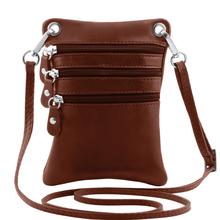 Geanta piele naturala Tuscany Leather, maro, Minicross