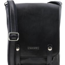 Geanta barbati din piele naturala Tuscany Leather, neagra, Roby