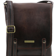 Geanta barbati din piele naturala Tuscany Leather, maro inchis, Roby