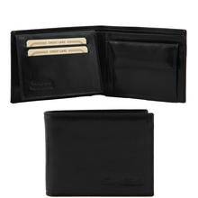 Portofel din piele Tuscany Leather cu trei pliuri si buzunar monede negru