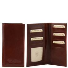 Portofel barbati din piele naturala Tuscany Leather cu doua pliuri, maro