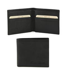 Portofel barbati Tuscany Leather cu doua pliuri din piele negru