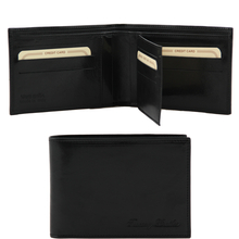 Portofel barbati din piele naturala Tuscany Leather cu trei pliuri, negru