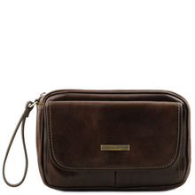 Borseta barbati din piele naturala Tuscany Leather, maro inchis, Ivan