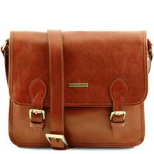 Geanta barbati din piele naturala Tuscany Leather, honey, Postman