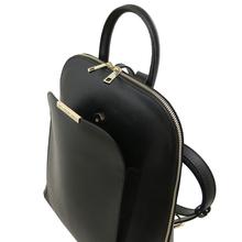Rucsac dama elegant Tuscany Leather din piele saffiano neagra