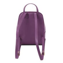 Rucsac dama Tuscany Leather purple din piele naturala saffiano