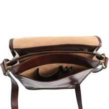 Geanta barbati din piele naturala Tuscany Leather, maro inchis, cu doua compartimente