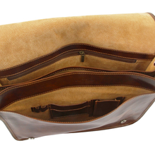 Geanta messenger barbati din piele naturala Tuscany Leather, maro inchis, Freestyle
