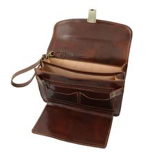Borseta din piele naturala Tuscany Leather maro inchis Max