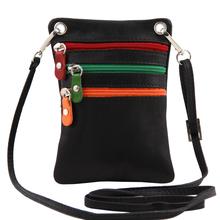 Geanta mica din piele naturala Tuscany Leather, neagra, Minicross