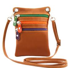 Geanta mica din piele naturala Tuscany Leather, coniac, Minicross