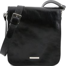 Geanta messenger barbati din piele naturala Tuscany Leather, neagra, cu doua compartimente