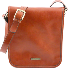 Geanta barbati din piele naturala Tuscany Leather, honey, cu doua compartimente