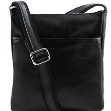 Geanta barbati din piele naturala Tuscany Leather, neagra, Jason