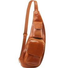Geanta barbati crossbody Tuscany Leather, din piele naturala, honey