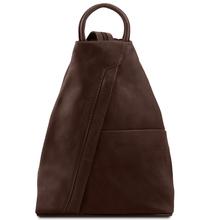 Rucsac dama din piele naturala Tuscany Leather, maro inchis, Shanghai