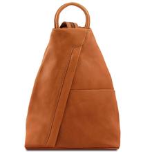 Rucsac dama din piele naturala Tuscany Leather, coniac, Shanghai
