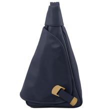 Rucsac dama casual din piele naturala Tuscany Leather, albastru inchis, Hanoi
