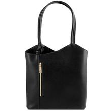 Geanta convertibila in rucsac Tuscany Leather din piele neagra Patty