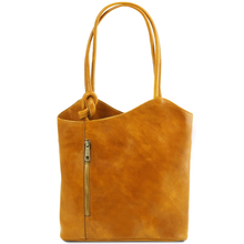 Geanta convertibila in rucsac Tuscany Leather din piele galbena Patty