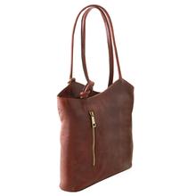 Geanta convertibila in rucsac Tuscany Leather din piele maro Patty