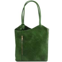 Geanta convertibila in rucsac Tuscany Leather din piele verde Patty