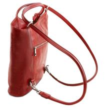 Geanta convertibila in rucsac Tuscany Leather din piele rosie Patty