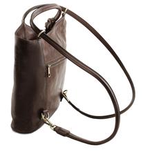 Geanta convertibila in rucsac Tuscany Leather din piele maro inchis Patty