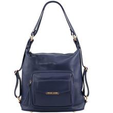 Rucsac dama si geanta de umar 2in1 Tuscany Leather din piele albastru inchis