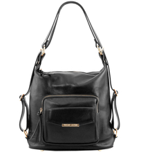 Rucsac dama si geanta de umar 2in1 Tuscany Leather din piele neagra